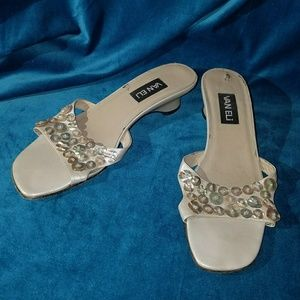 Shoes - Van Eli mother of pearl and leather sandals